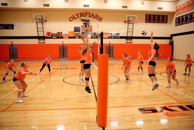 A volleyball practice at Sprague High School in Salem on Wednesday, Oct. 10, 2018.