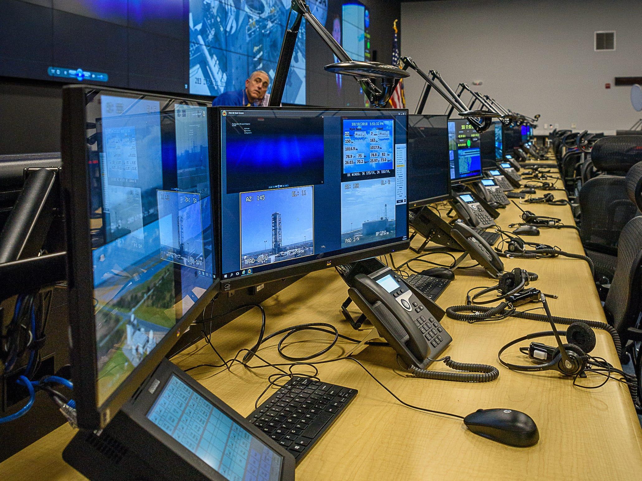A row of monitors at the new command center at NASA's Wallops Flight Facility.