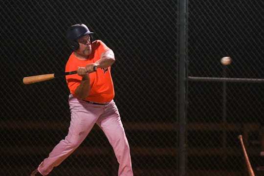 Otis Elzey bats during a game in the new Ty Cobb Senior Baseball League in Salisbury on Tuesday, Oct 9, 2018.