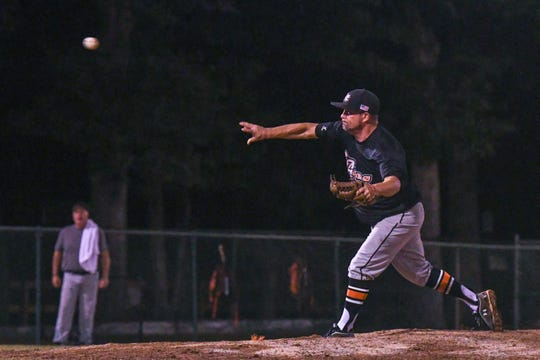 Keith Lorance throws a pitch during a game in the new Ty Cobb Senior Baseball League in Salisbury on Tuesday, Oct 9, 2018.