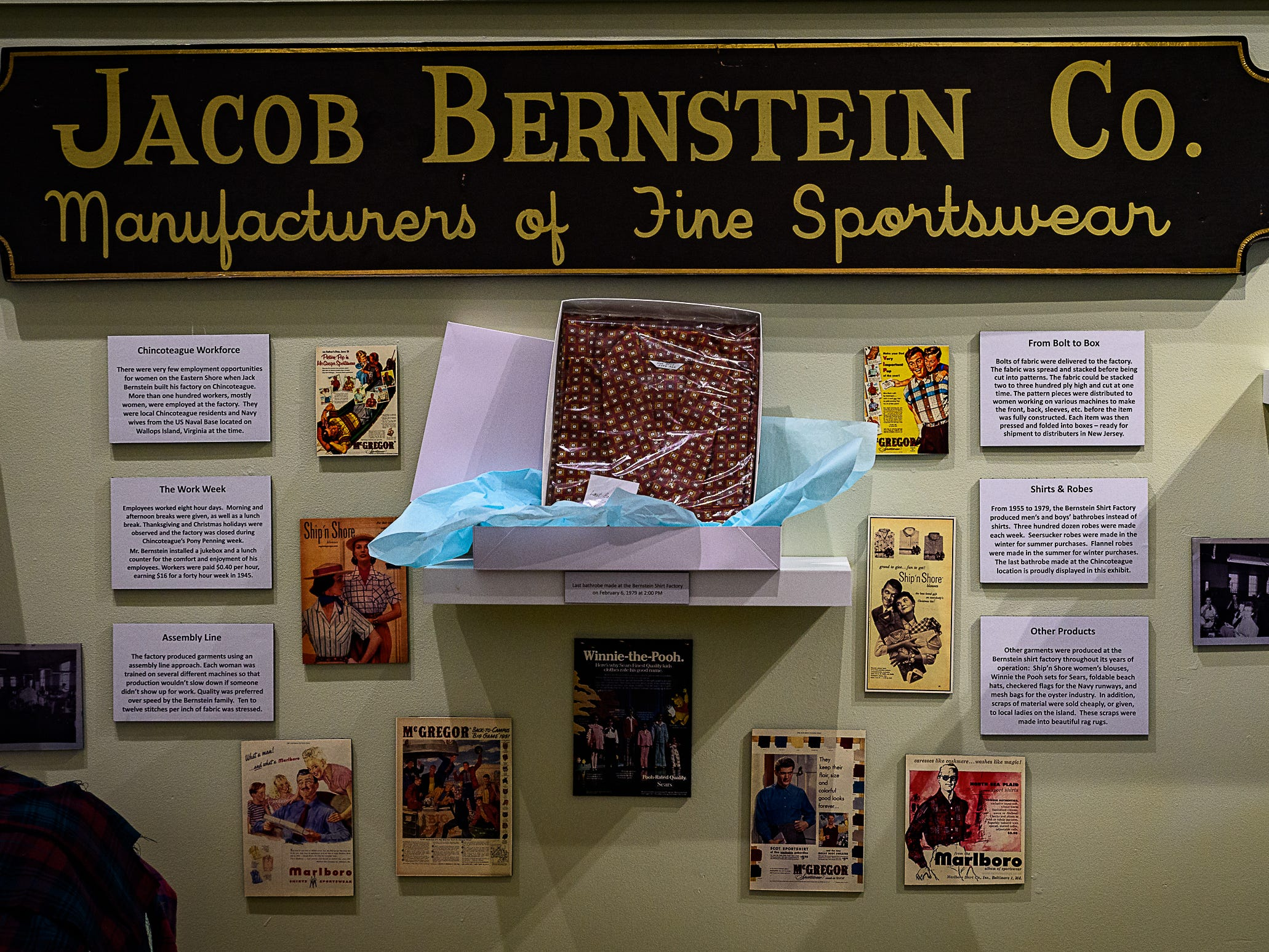 A showcase of the Jacob Berstein Co., a clothing manufacturer with factories on Chincoteague and elsewhere on Delmarva, one of the three new exhibits at the Museum of Chincoteague.