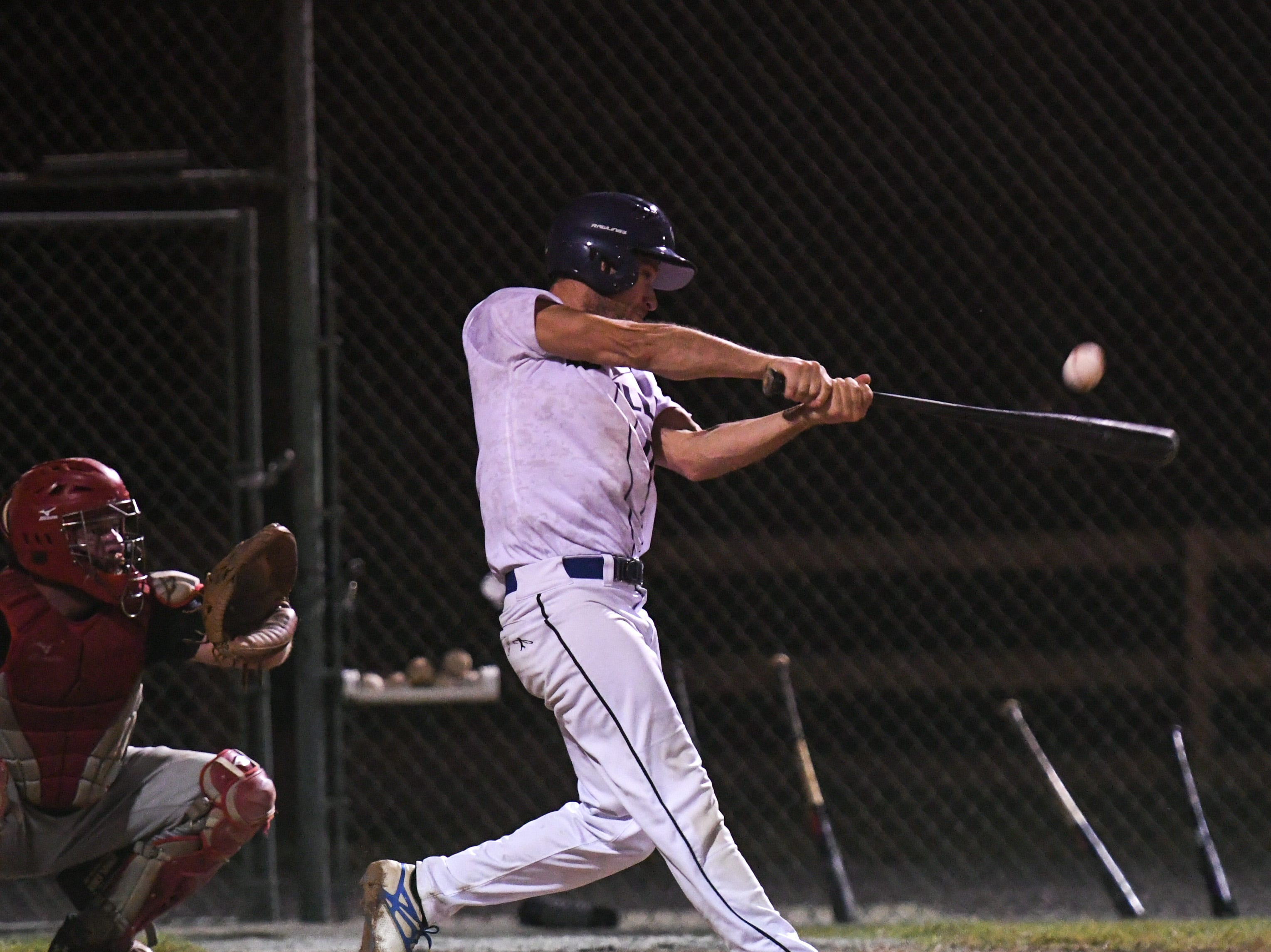 David Capibianco bats during a game in the new Ty Cobb Senior Baseball League in Salisbury on Tuesday, Oct 9, 2018.