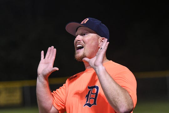 Rick Evans calls out the score during a game in the new Ty Cobb Senior Baseball League in Salisbury on Tuesday, Oct 9, 2018.