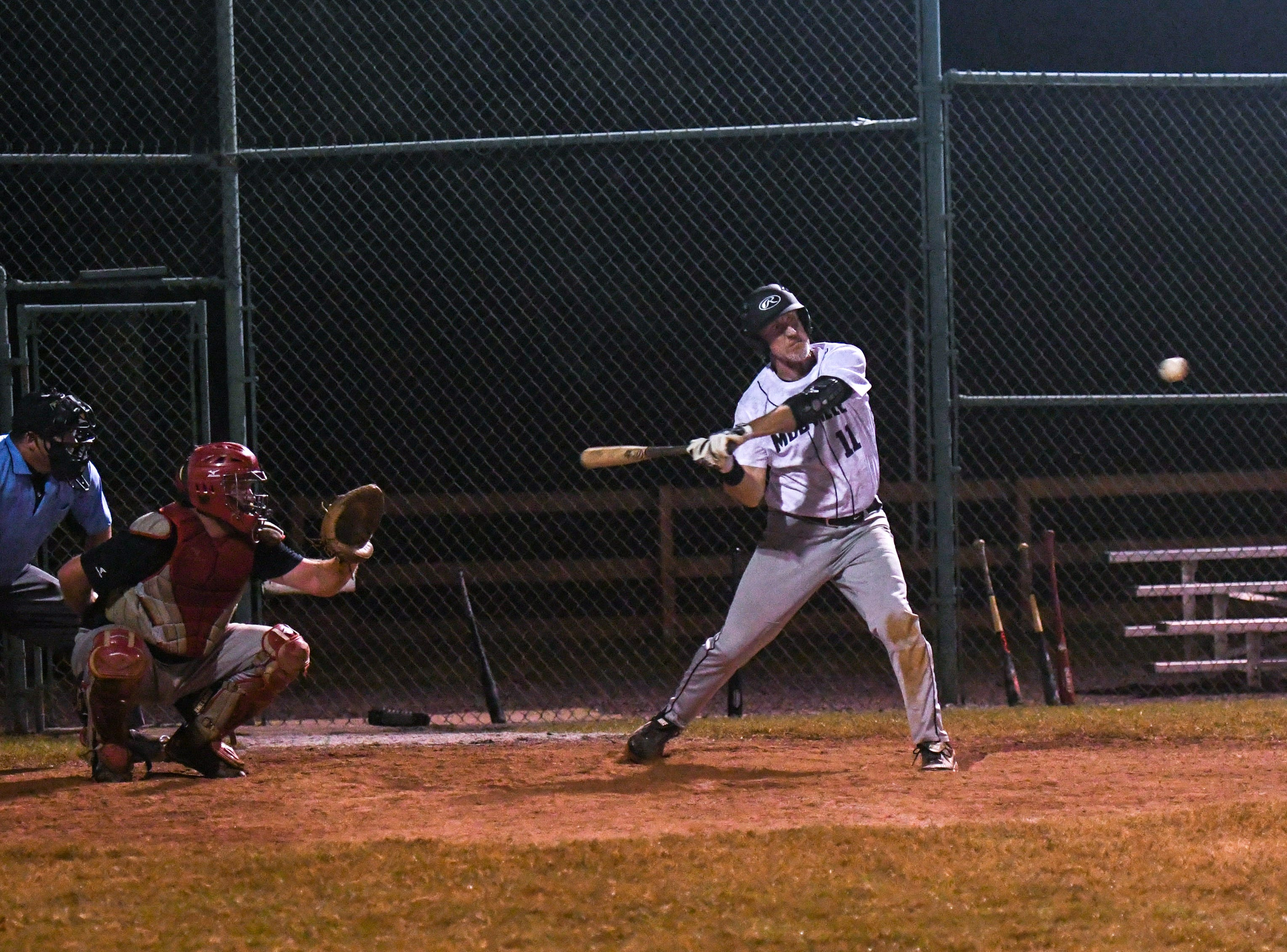 David Bennett bats during a game in the new Ty Cobb Senior Baseball League in Salisbury on Tuesday, Oct 9, 2018.