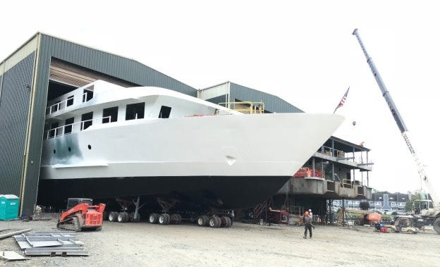 American Harmony's lower bow section has moved from Fabrication Building 4 at Chesapeake Shipbuilding in Salisbury to the assembly launchways.