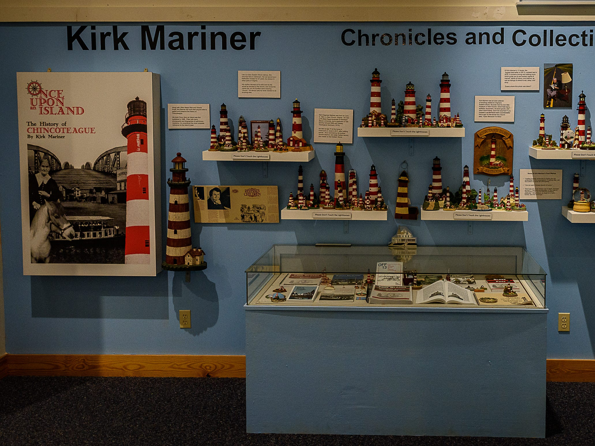 A display of Kirk Mariner's collection of lighthouses on display at the Museum of Chincoteague Island. The exhibit is one of three new exhibitions that opened at the museum to kick off its fall season.