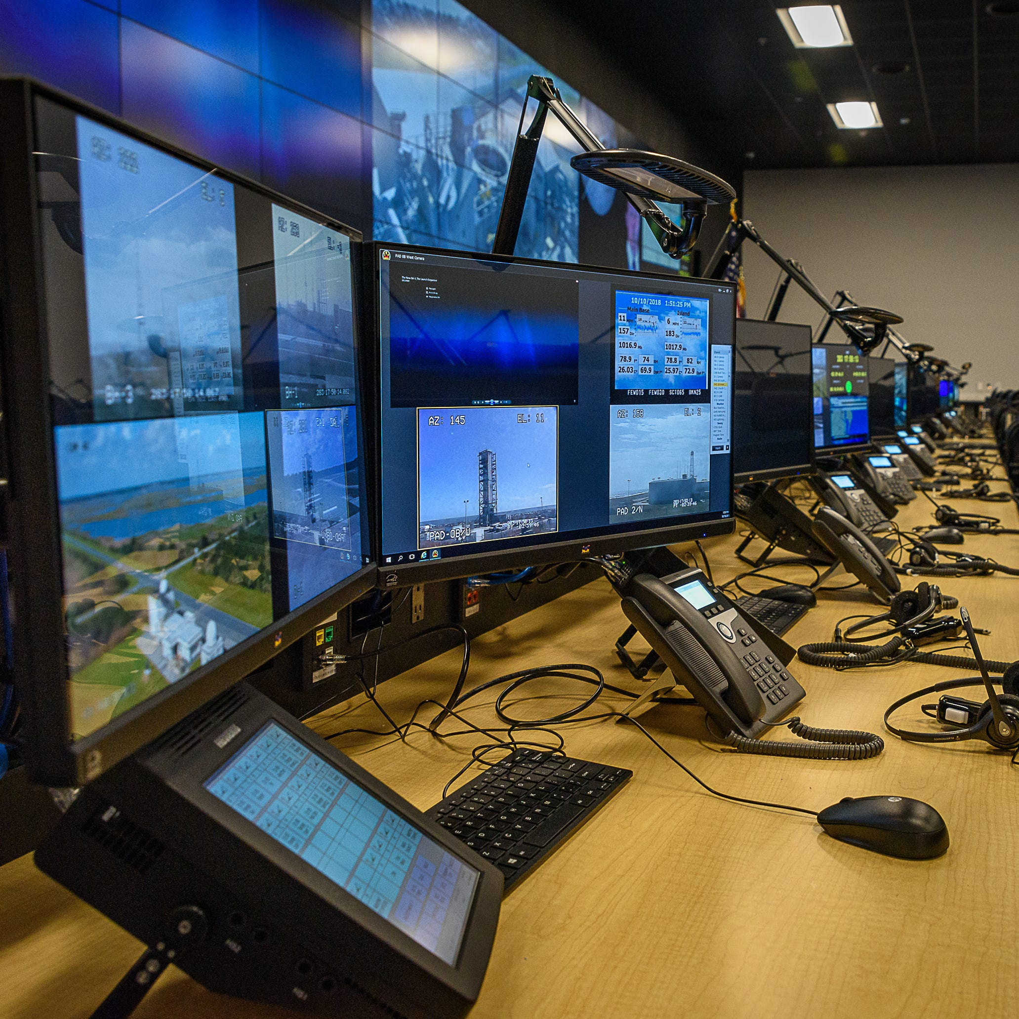 A row of monitors in the new command center at NASA's Wallops Flight Facility at Wallops Island.
