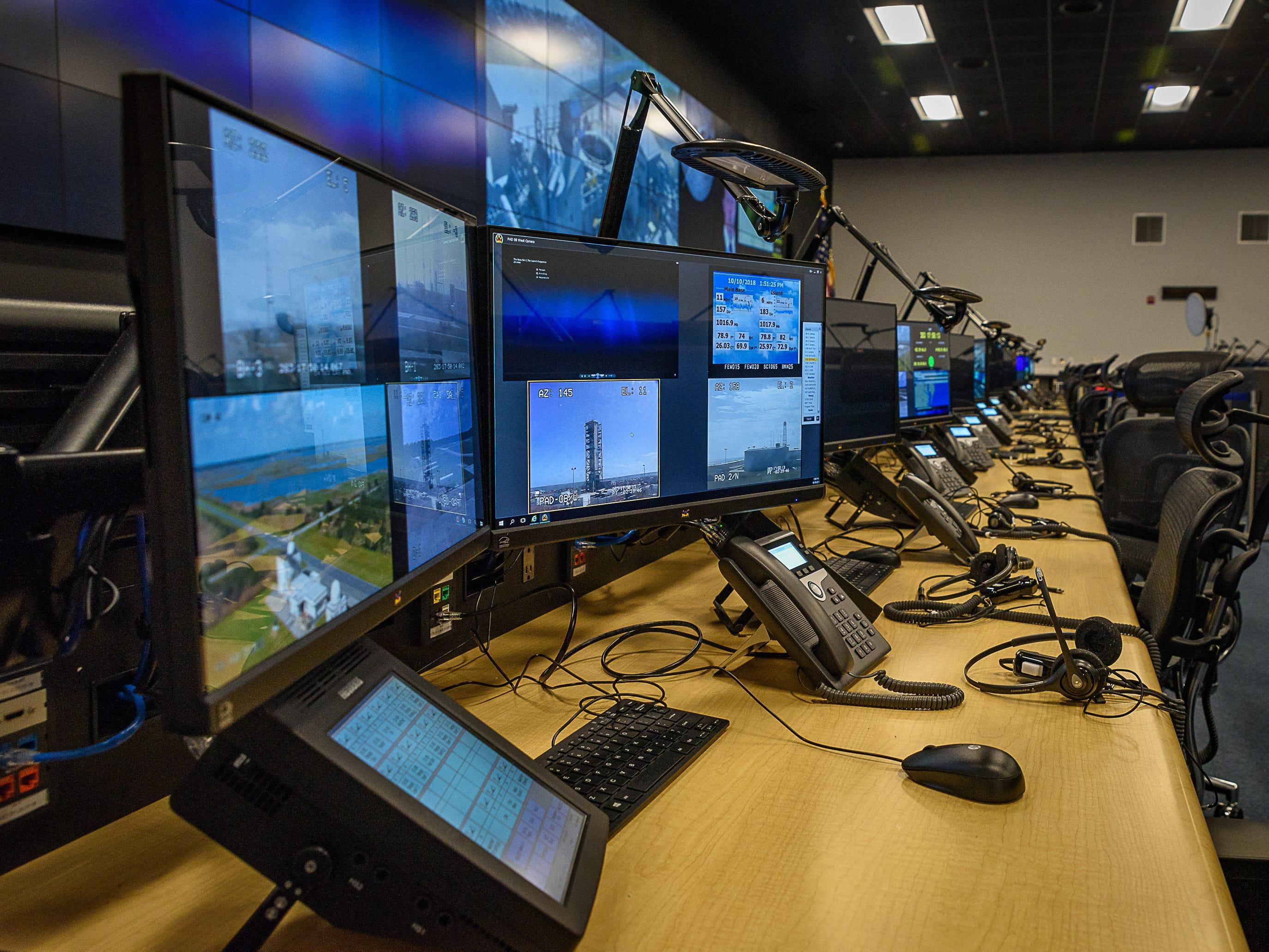 A row of monitors in the new command center at NASA's Wallops Flight Facility at Wallops Island.