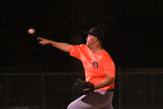 Clayton Hearn throws a pitch during a game in the new Ty Cobb Senior Baseball League in Salisbury on Tuesday, Oct 9, 2018.