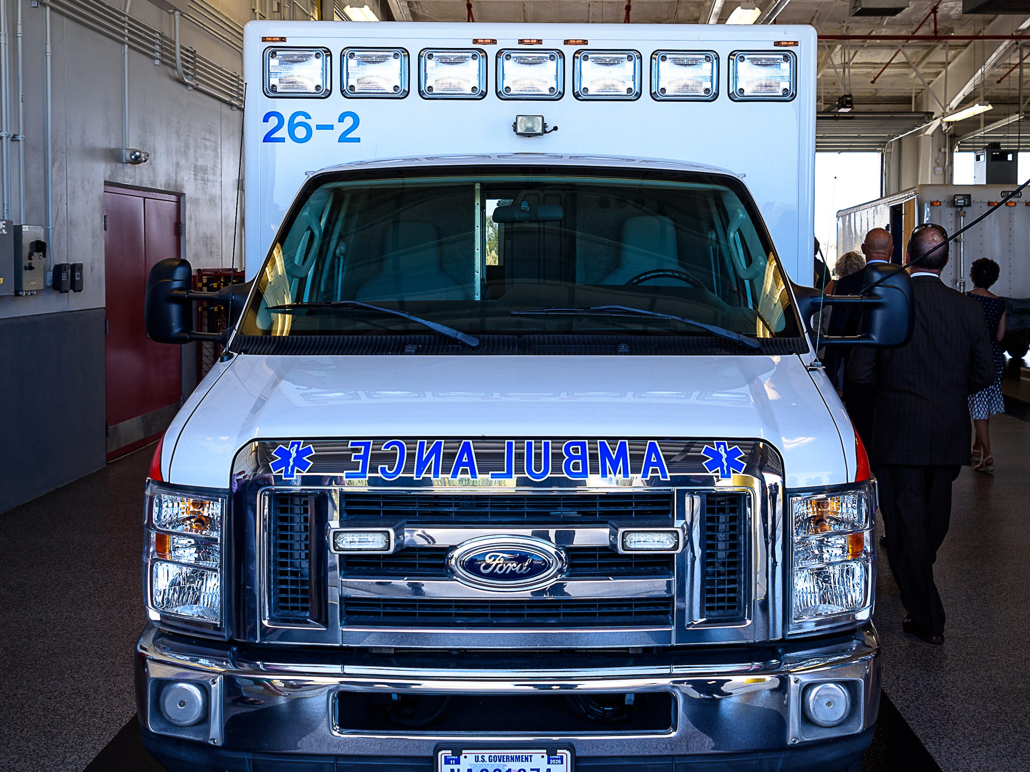 An ambulance sits in the vehicle bay at Wallops Islands' new fire station.