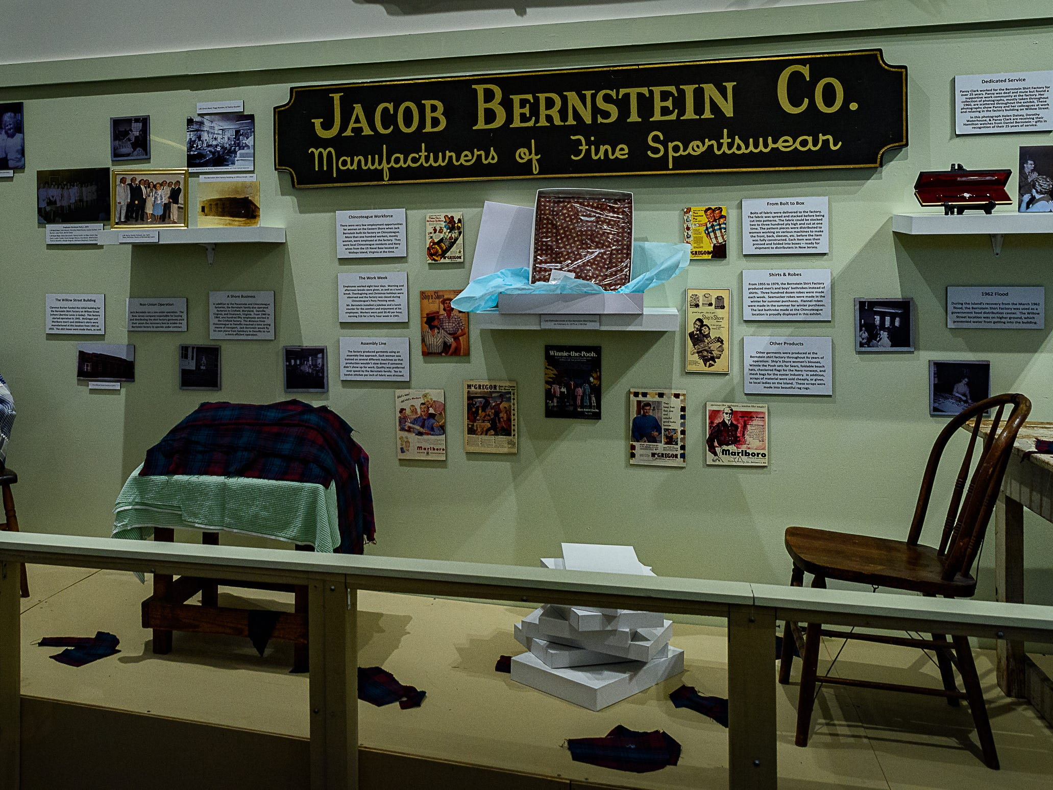 A showcase of the Jacob Berstein Co., a clothing manufacturer with factories on Chincoteague and elsewhere on Delmarva.