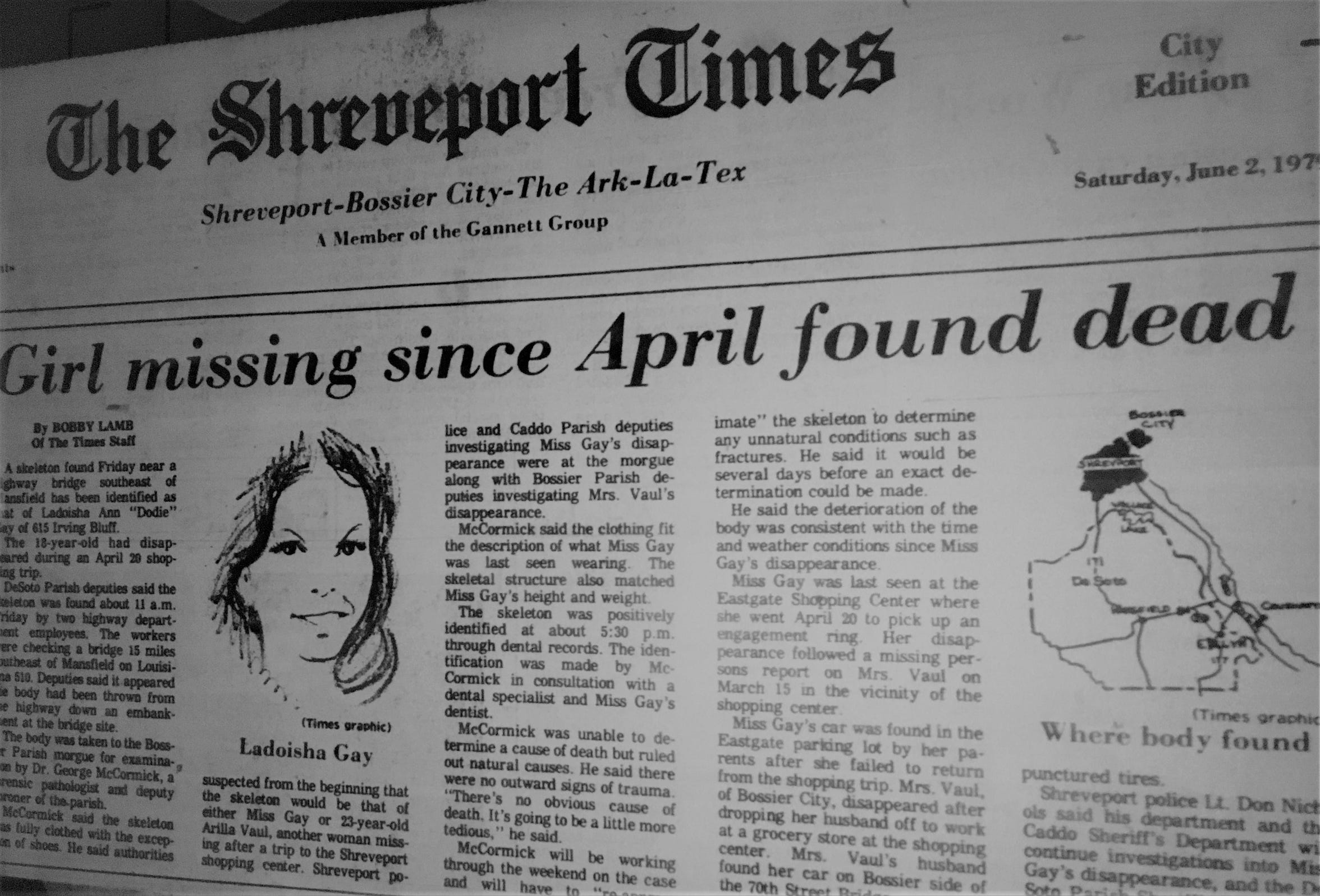 A Times article reports the discovery of Dodie Gay's body in June 1979.