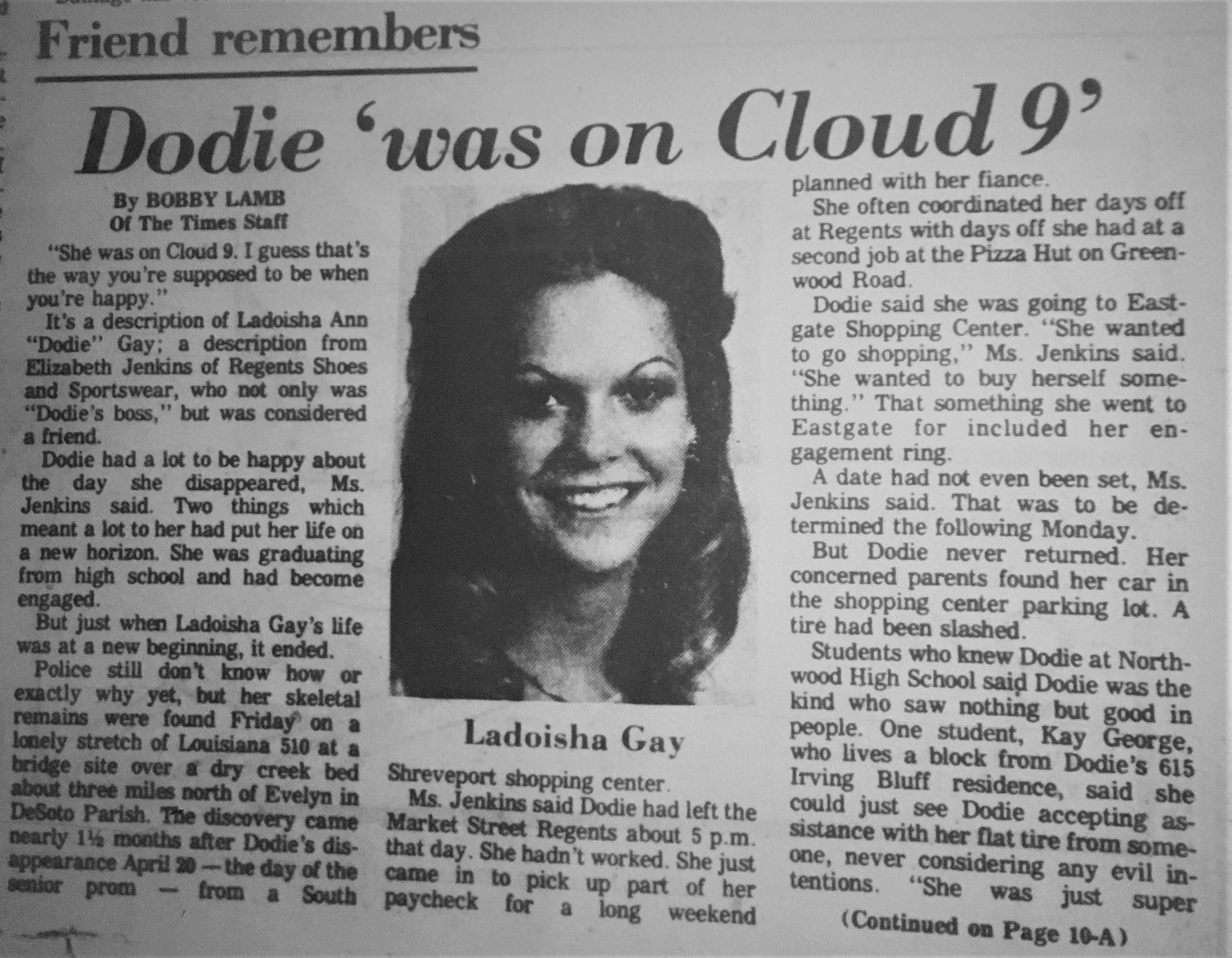 An article about Dodie Gay printed after her body was found in June 1979.
