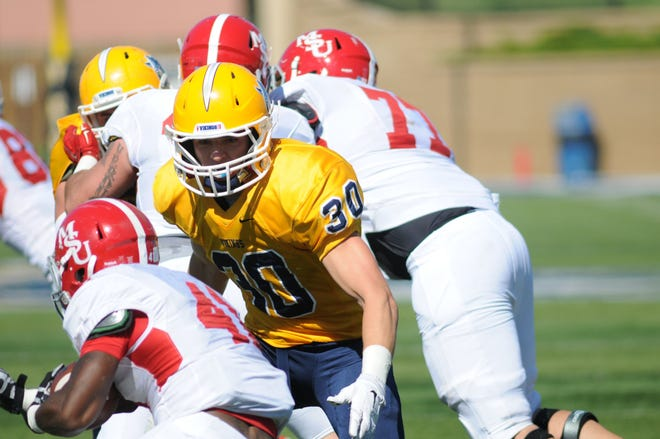 Kirby Hora leads the Vikings defense into Northern State on Saturday