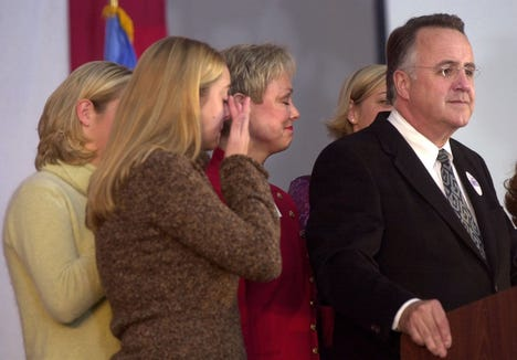 Jim Abbott gives his concession speech after losing to Mike Rounds in the race for South Dakota governor in 2002.