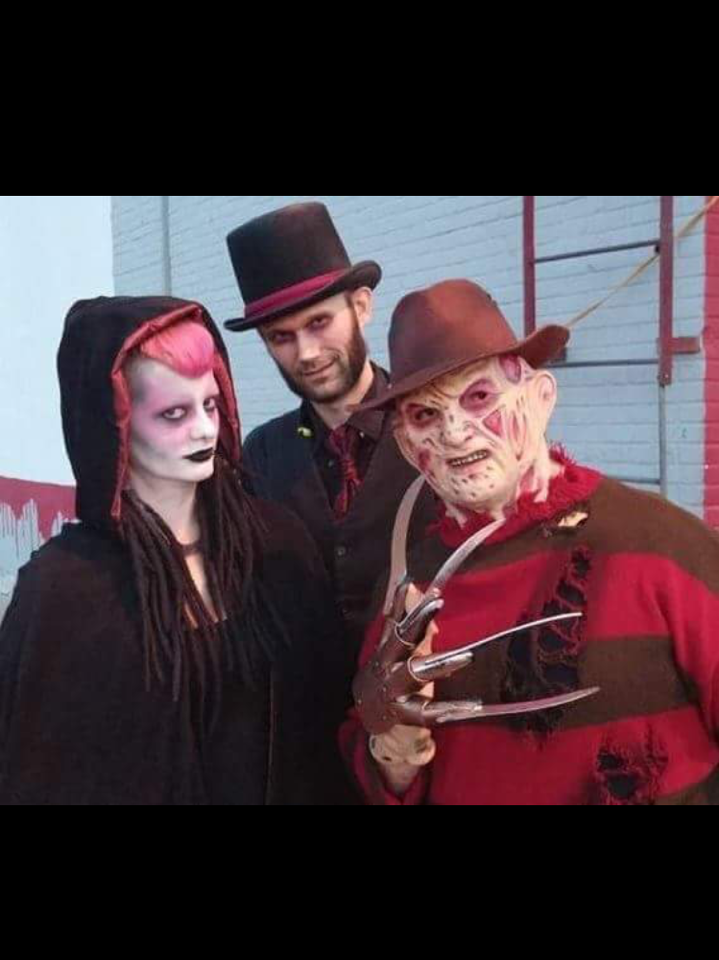 A creature of the night, left, with Jack the Ripper and Freddy Krueger at Dungeons of Doom.