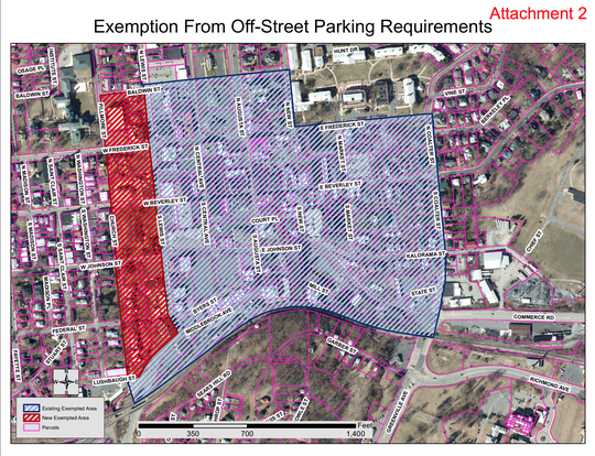 Proposed amendment for off-street parking requirement exemption zone.