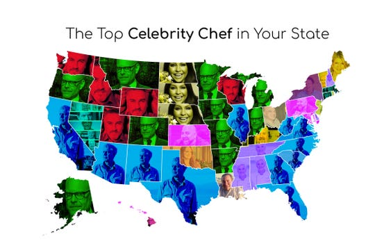 "Who's the most popular celebrity chef in your state? In Minnesota, it's Alton Brown, host of ""Cutthroat Kitchen"" and ""Good Eats."""