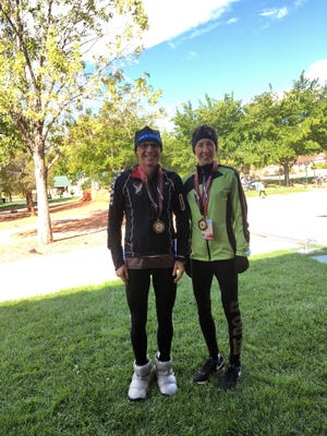 Curtis Eppley, left, and Kris Rostas were the overall winners of the road race -- 10K at the 2018 Huntsman World Senior Games.