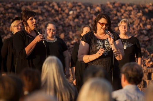 The John Houston Gospel Choir performs at the Shine a Light on Domestic Violence candlelight vigil at DSU Oct. 10, 2018.