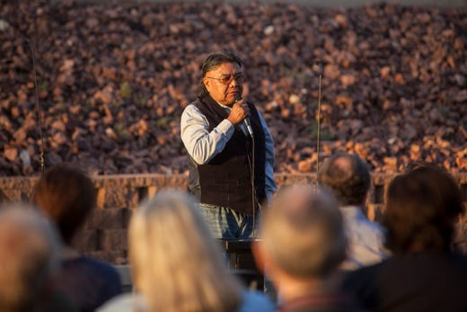 Glenn Rogers, from the Shivwits Band Council of Paiute Tribe, speaks at the Shine a Light on Domestic Violence candlelight vigil at DSU Oct. 10, 2018.