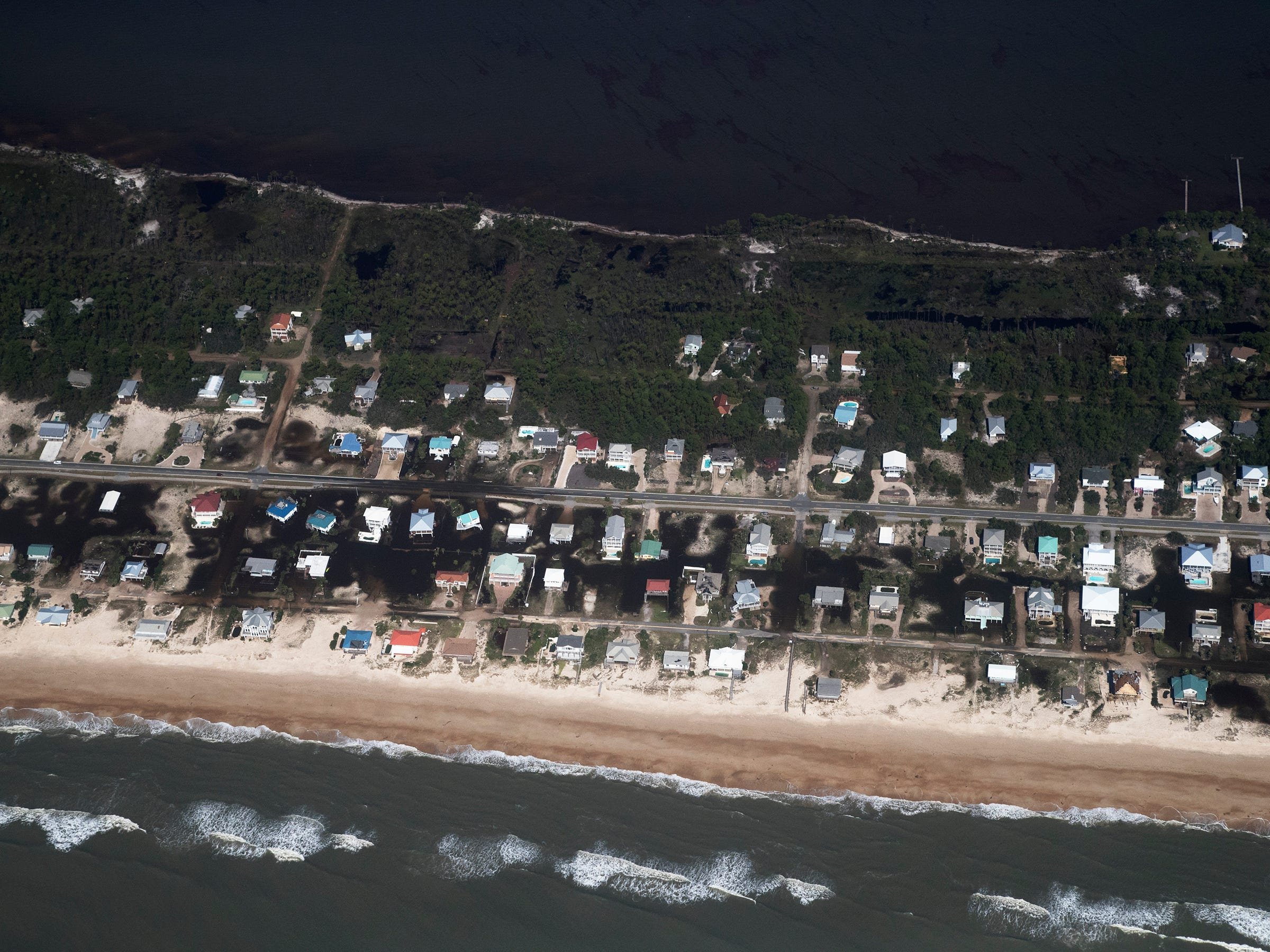 Hurricane Michael damaged several homes on St. George Island in Franklin County, Florida.