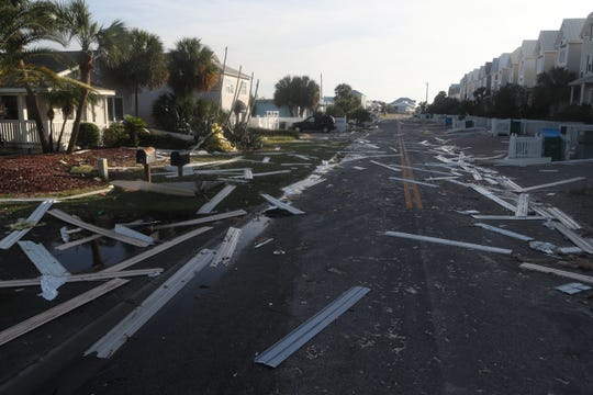 Destruction from Hurricane Michael is seen on St. George Island Thursday, Oct. 11, 2018.