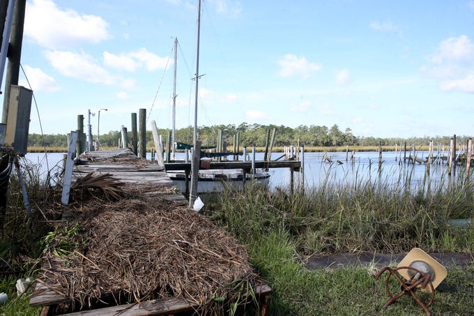 On Thursday, Oct. 11, 2018 the St. Marks, Fla. Yacht Club torn into pieces after Hurricane Michael ripped through the panhandle.