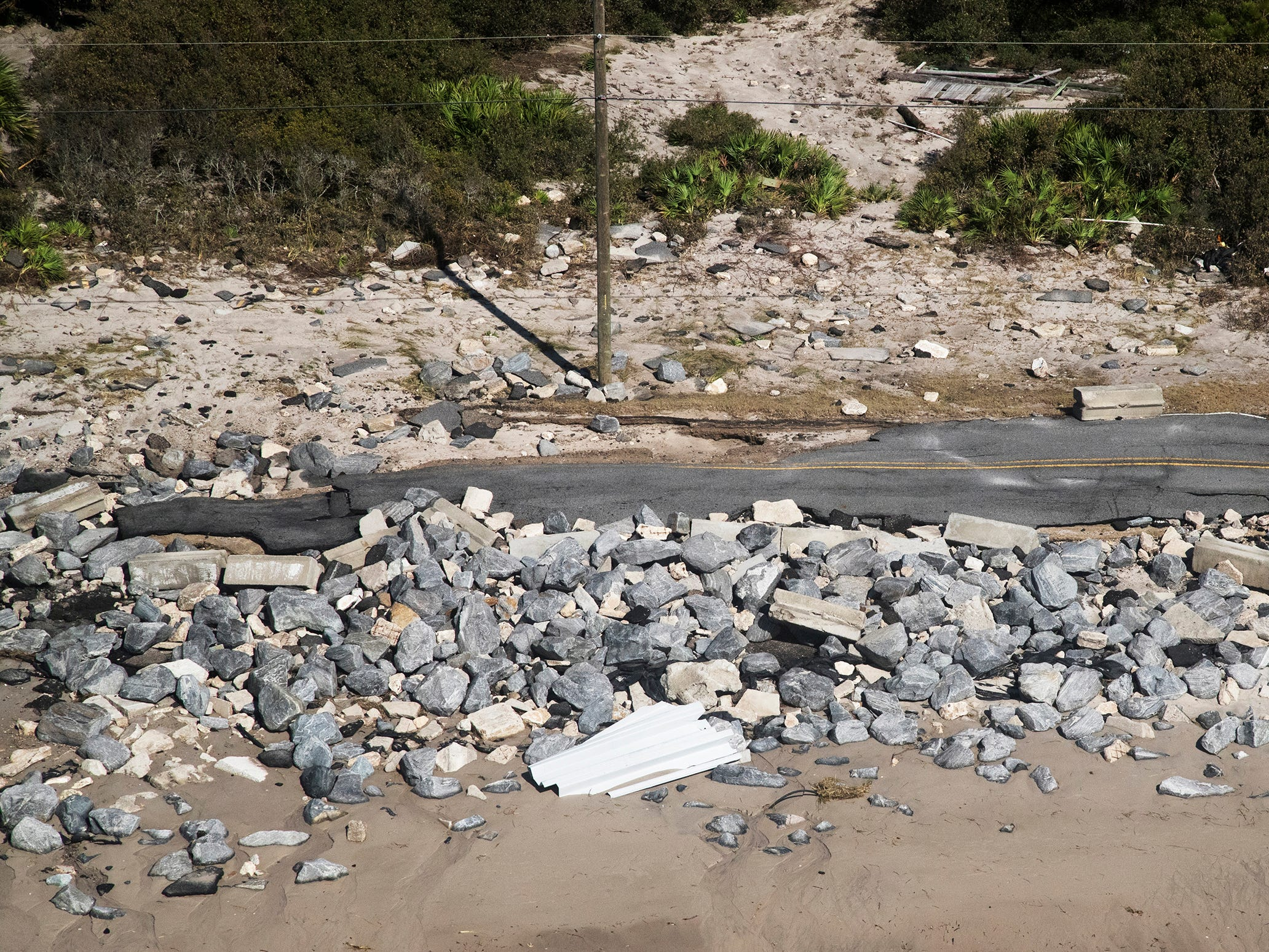 Hurricane Michael washed out portions of Highway 319 on Alligator Point in Franklin County, Florida.
