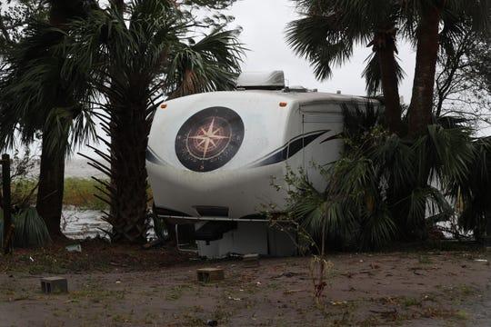 Destruction from Hurricane Michael is seen across Apalachicola, Fla. Wednesday, Oct. 10, 2018.