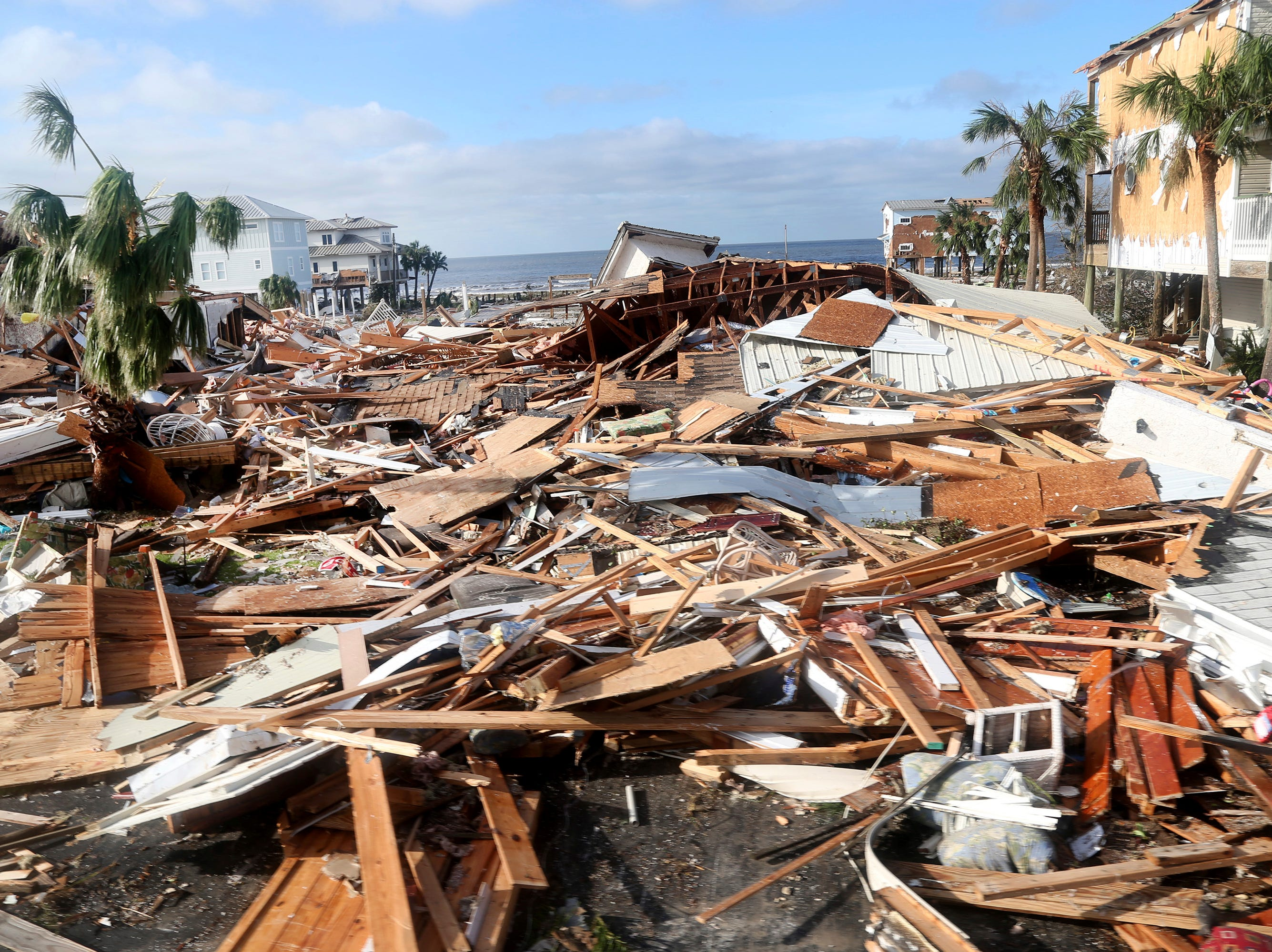 The coastal township of Mexico Beach, population 1200, lay devastated on Thursday, Oct. 11, 2018, after Hurricane Michael made landfall on Wednesday in the Florida Panhandle.(Douglas R. Clifford/Tampa Bay Times via AP)