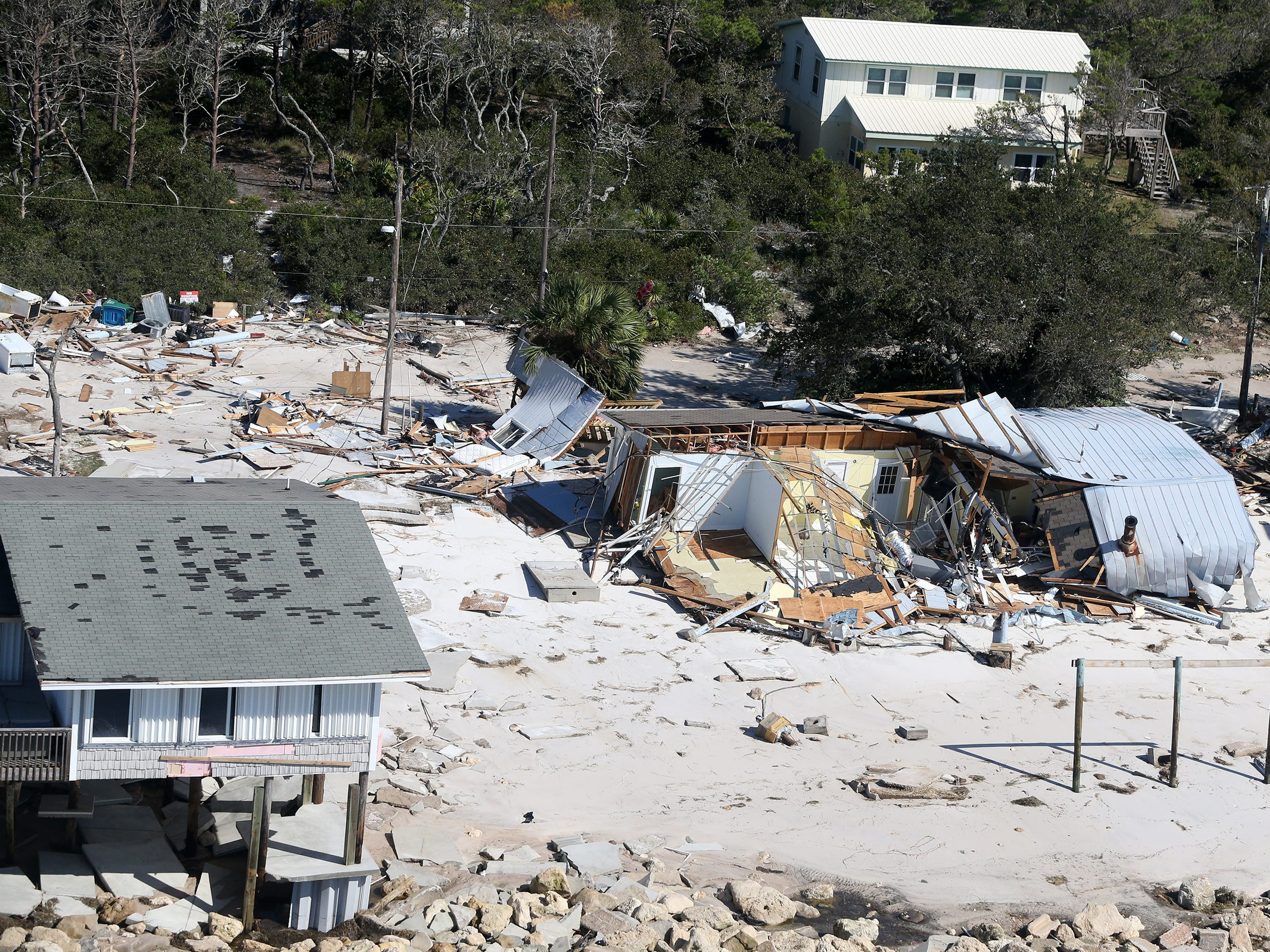 Hurricane Michael damaged several homes on Alligator Point in Franklin County, Florida.