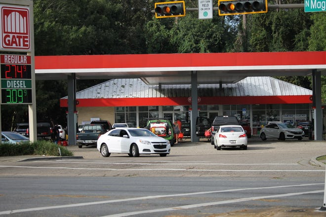 The Gate gas station on N Magnolia the morning after Hurricane Michael.