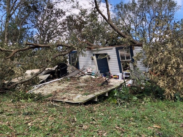 A large oak tree, which fell Oct. 10, 2018, during Hurricane Michael, practically destroyed the Gretna, Florida, house where Steve Sweet was killed and his wife was injured.