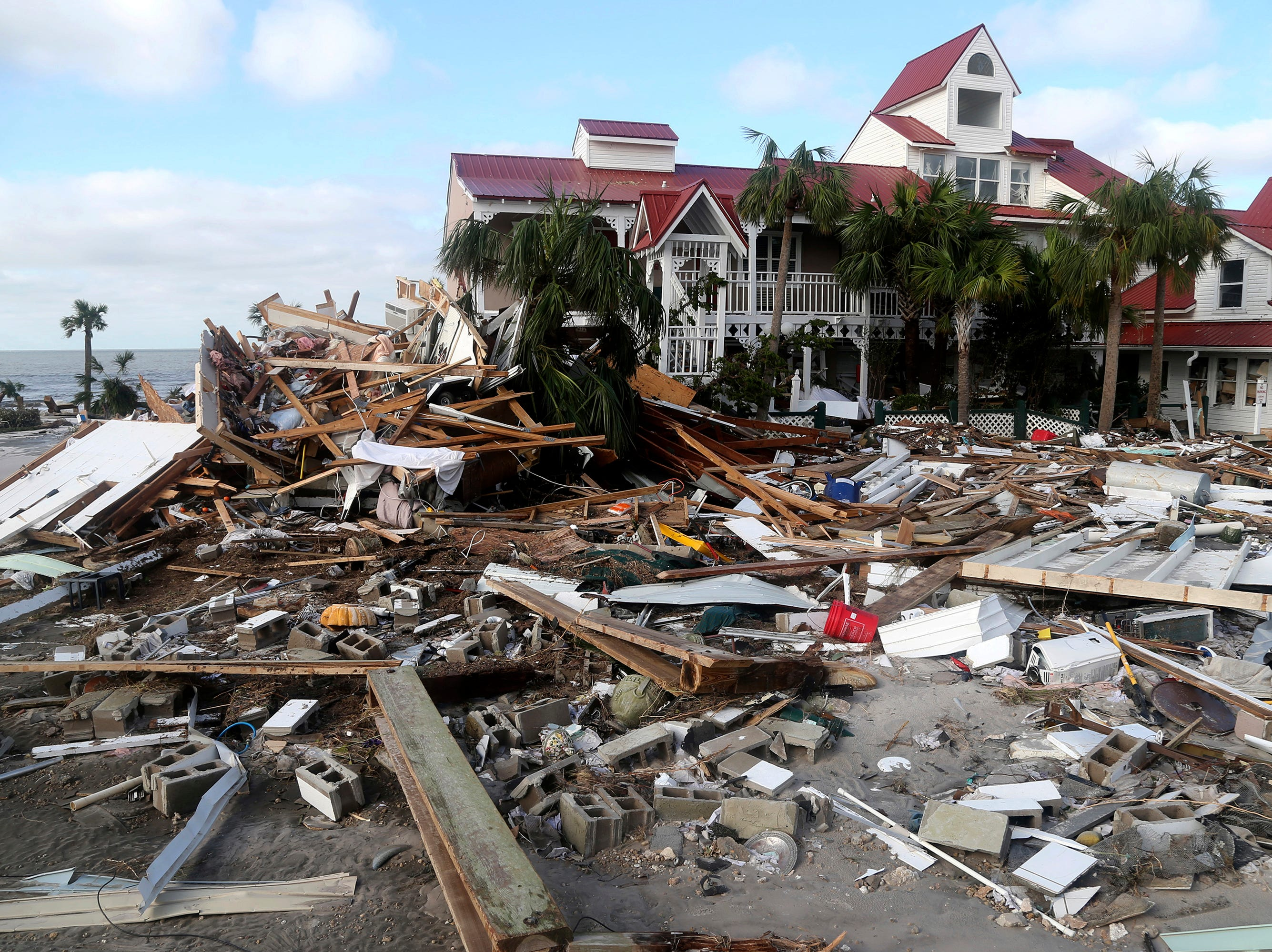 The coastal township of Mexico Beach, Fla., population 1200, lay devastated on Thursday, Oct. 11, 2018, after Hurricane Michael made landfall on Wednesday in the Florida Panhandle.  (Douglas R. Clifford/Tampa Bay Times via AP)
