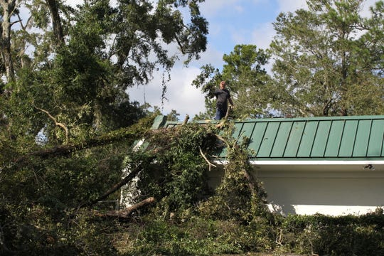 Damage from Hurricane Michael along North Monroe Street in Tallahassee, Oct. 11, 2018.