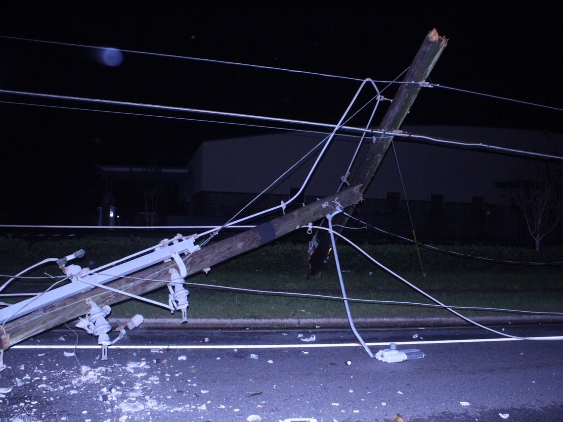 Utility poles and wires came down in Tallahassee during Hurricane Michael Wednesday