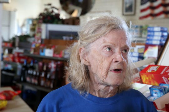 Bo Lynn's Grocery owner, Joy Brown speaks about the devastation Hurricane Michael caused in her store on Thursday, Oct. 11, 2018.