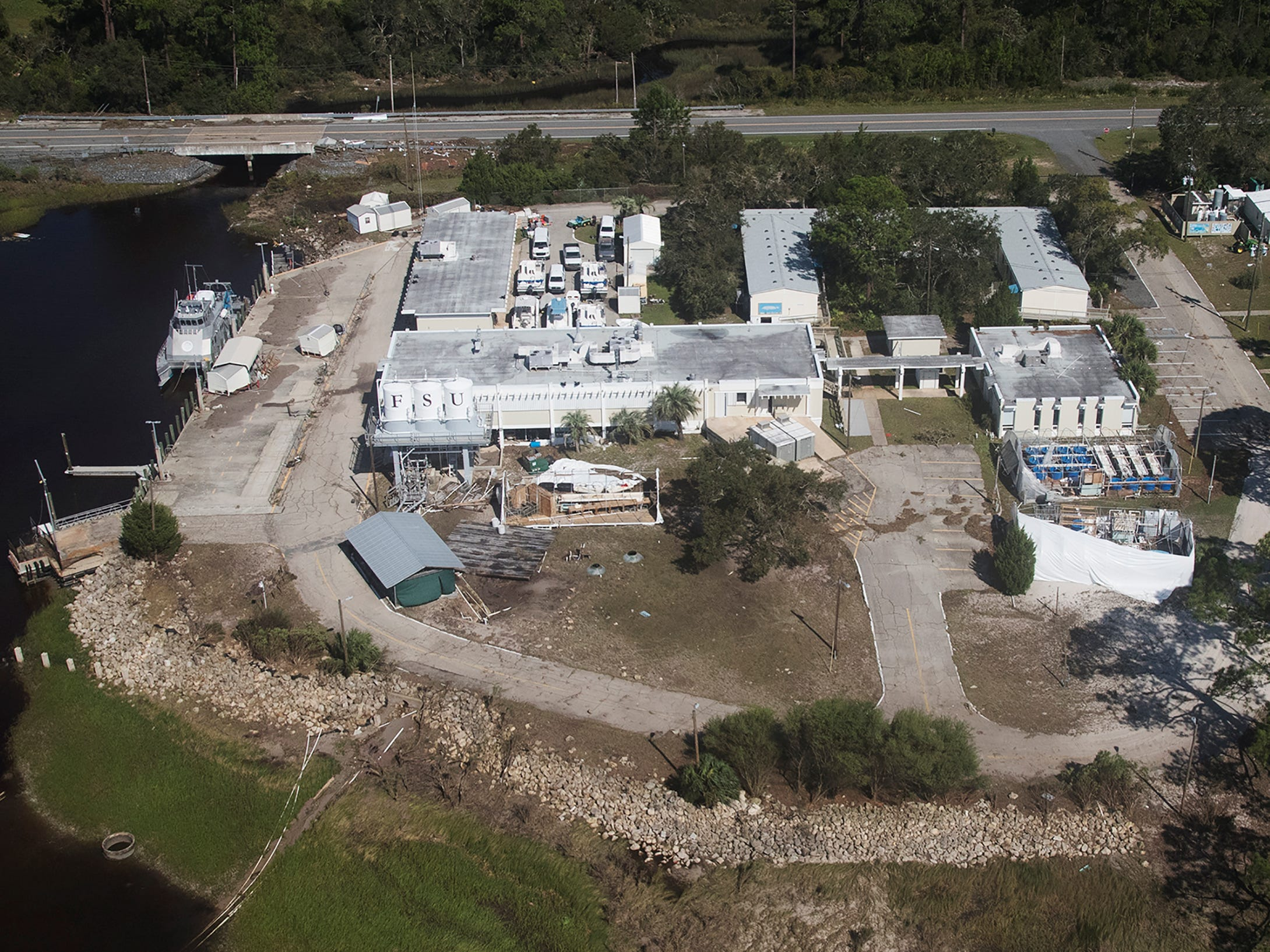 The Florida State University Coastal and Marine Laboratory in St. Teresa, Florida was damaged during Hurricane Michael.