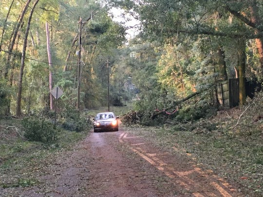 South bound lane of Centerville blocked near Buckhead after Hurricane Michael