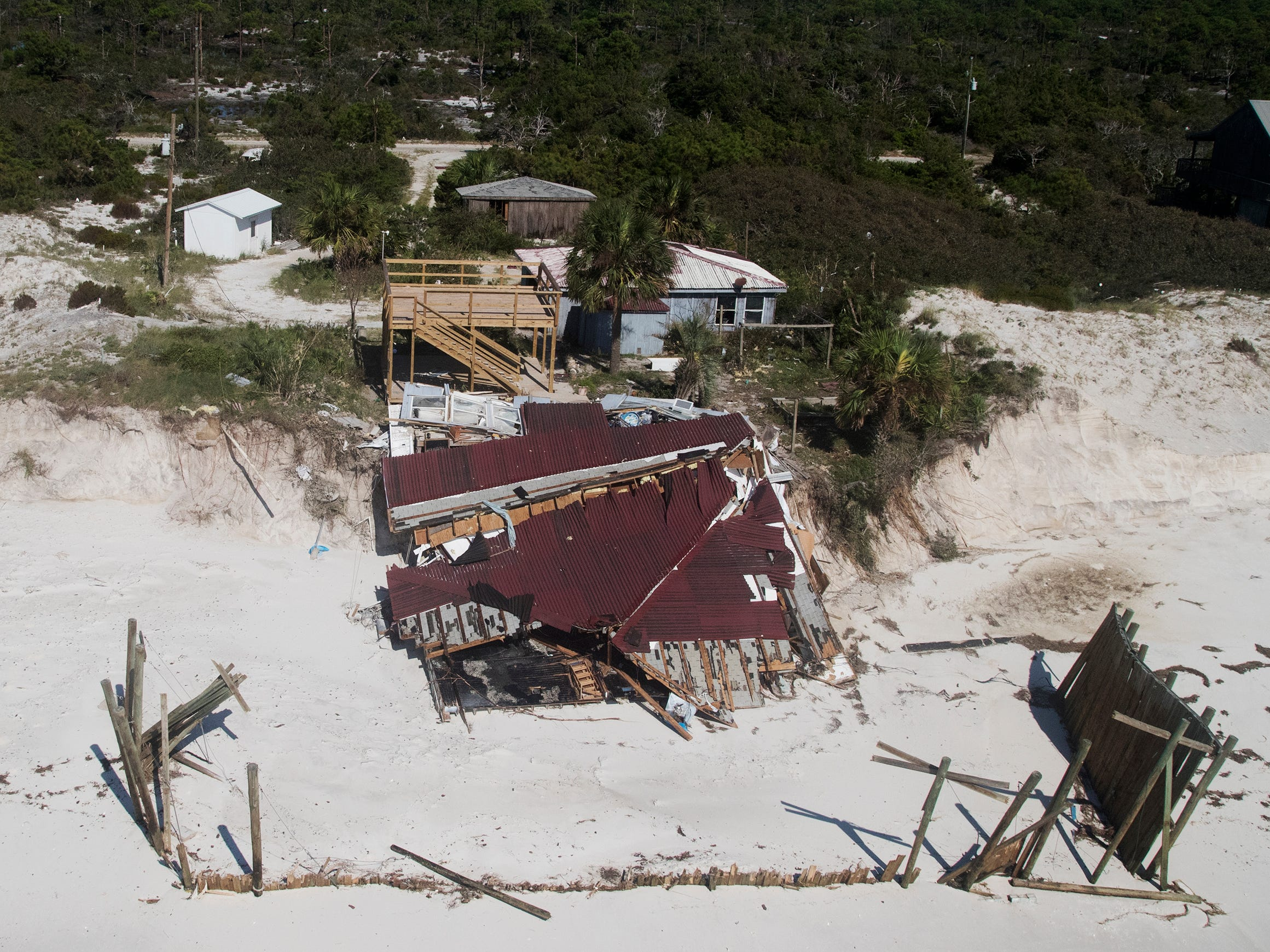 Hurricane Michael damaged several homes on Dog Island in Franklin County, Florida.