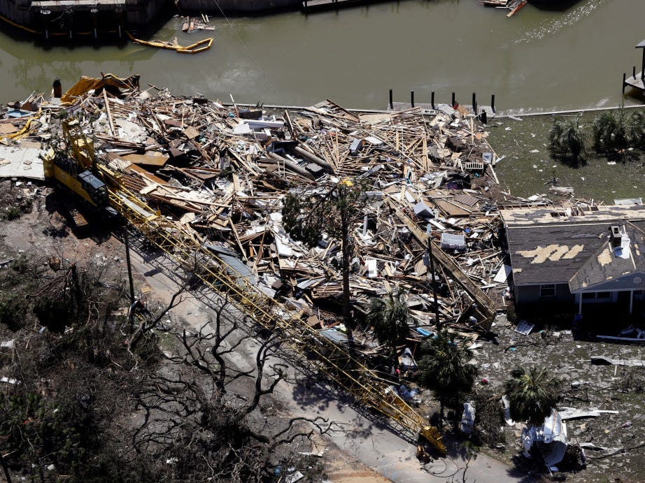 MEXICO BEACH, FL - OCTOBER 11: Debris from Hurricane Michael fills a lot on October 11, 2018, in Mexico Beach, Florida. Hurricane Michael made landfall Wednesday as a Category 4 hurricane with 155 mph (250 kph) winds and a storm surge of 9 feet (2.7 meters). The hurricane hit the panhandle area with category 4 winds causing major damage. (Photo by Chris O'Meara-Pool/Getty Images)