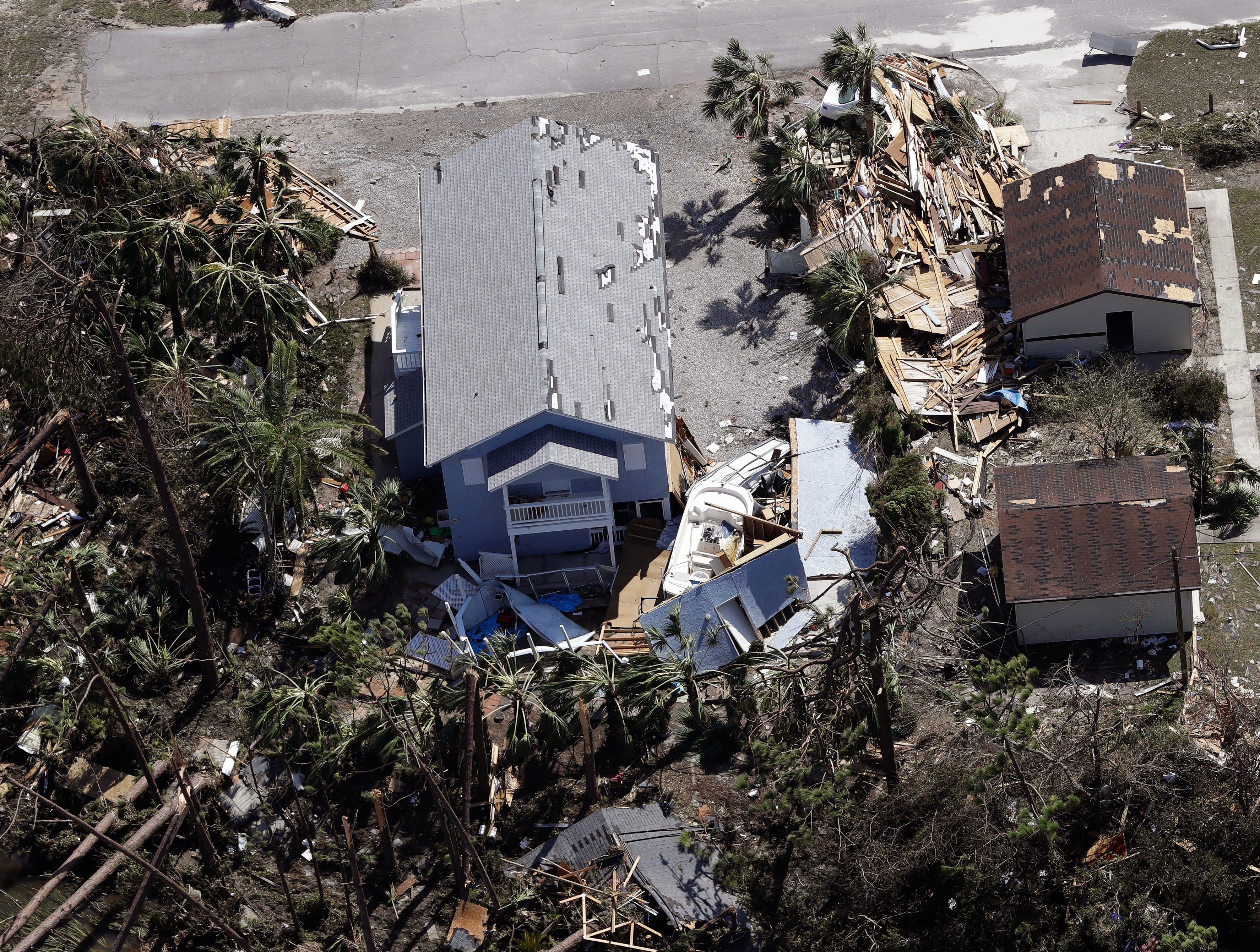 A home is destroyed from Hurricane Michael Thursday, Oct. 11, 2018, in Mexico Beach, Fla. Hurricane Michael made landfall Wednesday as a Category 4 hurricane with 155 mph (250 kph) winds and a storm surge of 9 feet (2.7 meters). (AP Photo/Chris O'Meara)