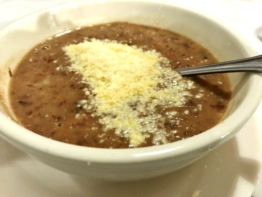 Corleone's Pasta e Fagioli had a thick,  broth of pureed beans plus whole red beans and dilatini pasta.