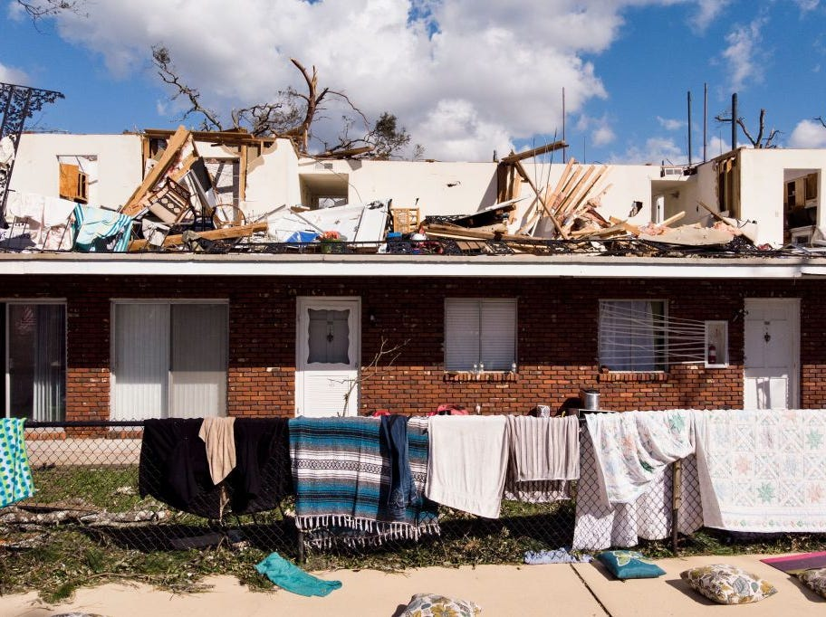 Storm damage is seen in the aftermath of Hurricane Michael October 11, 2018 in Panama City, Florida. - Residents of the Florida Panhandle woke to scenes of devastation Thursday after Michael tore a path through the coastal region as a powerful hurricane that killed at least two people. (Photo by Brendan Smialowski / AFP)        (Photo credit should read BRENDAN SMIALOWSKI/AFP/Getty Images)