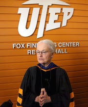UTEP president Diana Natalicio speaks to the media following her remarks at what was her final Fall Convocation Thursday on campus.