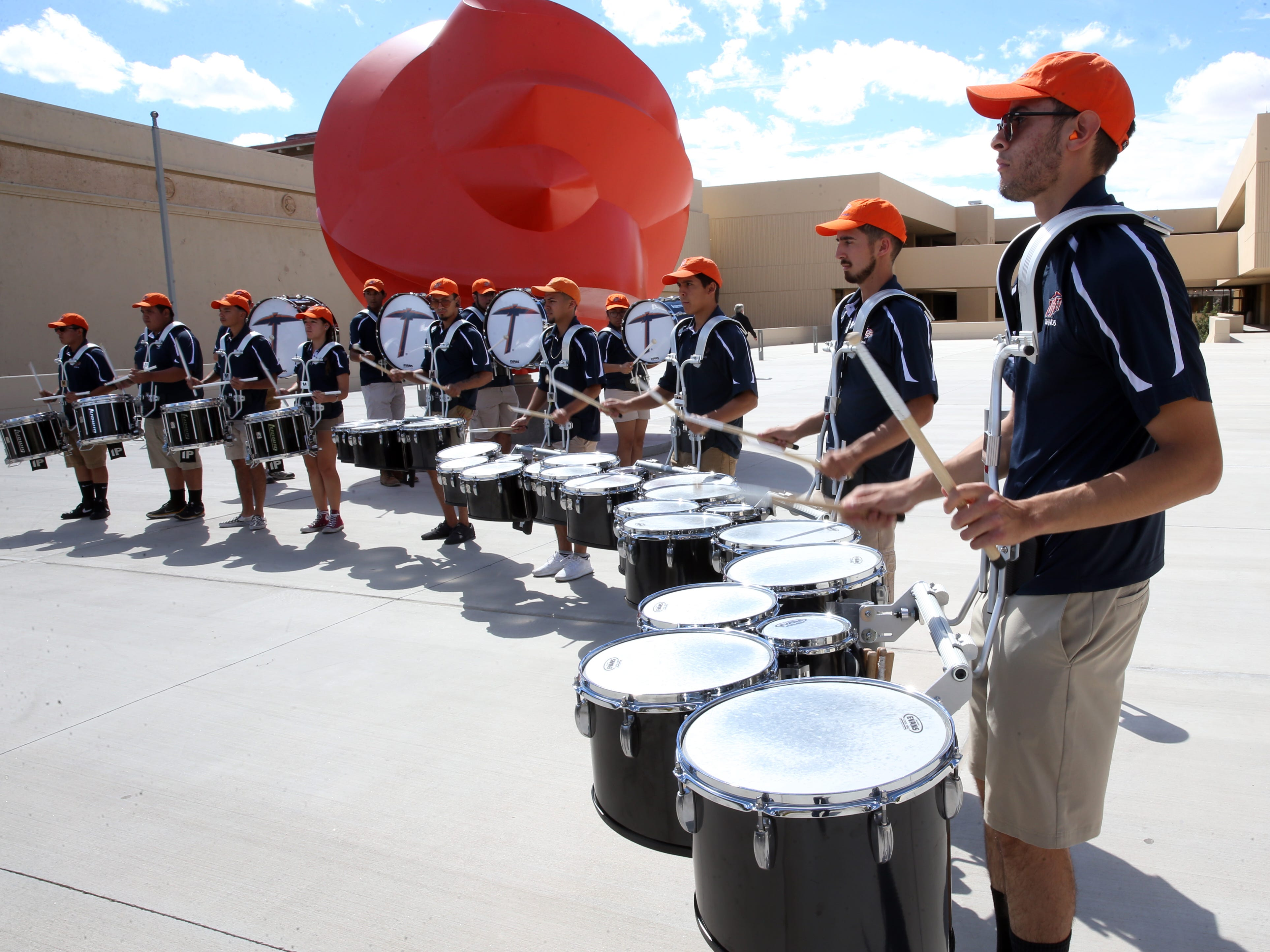 The UTEP drum line plays at the steps of the Fox Fine Arts building on the UTEP campus Thursday during the 2018 Fall Convocation.
