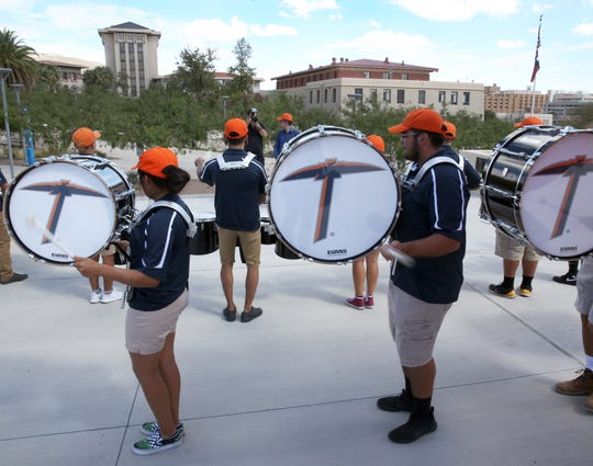 The UTEP band drum line performs at the steps to the Fox Fine Arts building on campus where the 2018 Fall Convocation was held Thursday.