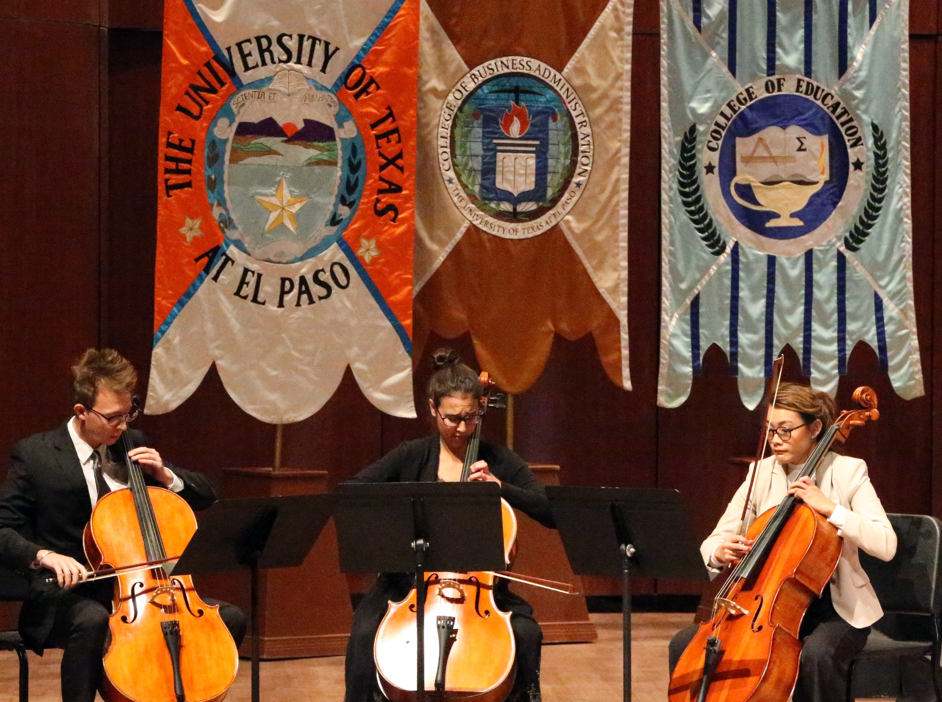 UTEP cellists Christopher Beroes-Haigis, Ivana Biliskov and Amy Miller perform during 2018 Fall Convocation Thursday at UTEP.
