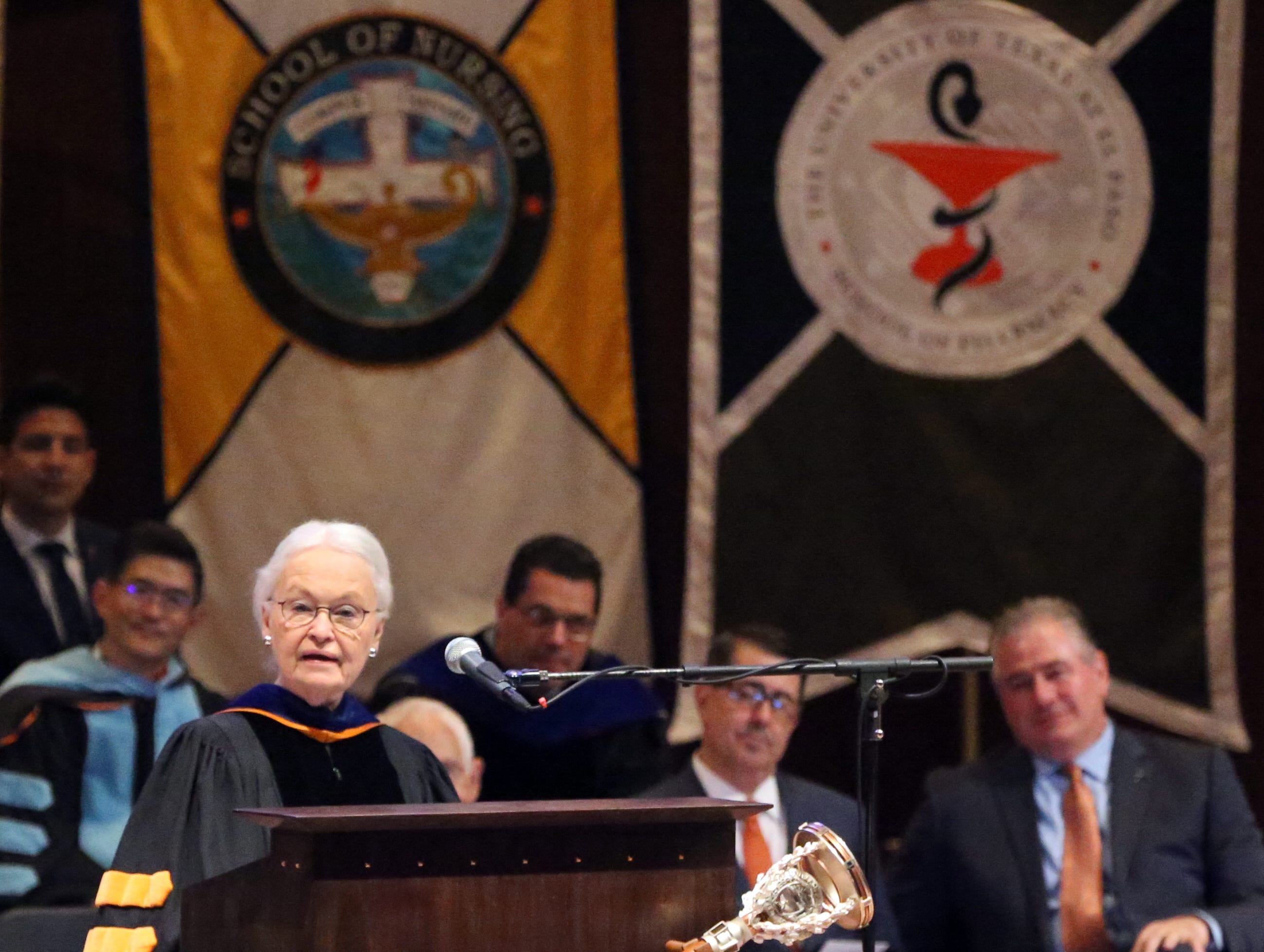 UTEP president Diana Natalicio gives her remarks at the 2018 Fall Convocation Thursday at the Fox Fine Arts Recital Hall on campus